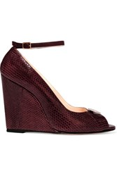 Jerome Dreyfuss Juliette Embellished Leather Wedge Pumps Plum