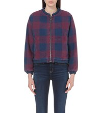 Mih Jeans Selvy Checked Cotton Jacket Embroidered Blue