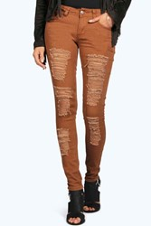 Boohoo Ripped Low Rise Skinny Jeans Tobacco