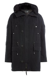Yves Salomon Cotton Parka With Fur Trimmed Hood Black