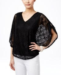 Styleandco. Style And Co. V Neck Lace Poncho Only At Macy's Deep Black