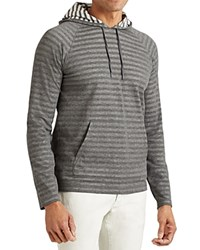 John Varvatos Star Usa Striped Pullover Hoodie Sweatshirt Carbon Grey