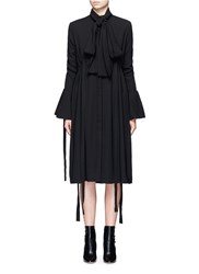 Ellery 'Inez' Pussybow Ruched Crepe Shirt Dress Black