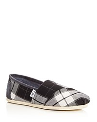 Toms Seasonal Classic Plaid Flats Black White