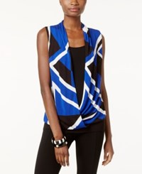 Inc International Concepts Surplice Colorblocked Sweater Only At Macy's Goddess Blue