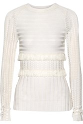 Jason Wu Fringed Stretch Knit Sweater Cream