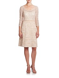 Kay Unger Embellished Lace And Tweed Dress Gold Multi