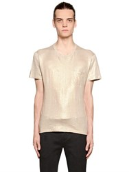 Etro Laminated Stretch Linen Jersey T Shirt