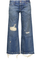 Simon Miller Ariko Cropped Distressed Boyfriend Jeans Mid Denim