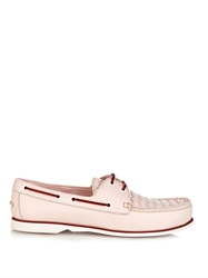 Bottega Veneta Intrecciato Leather Lace Up Boat Shoes