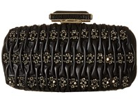 Oscar De La Renta Goa Leather Black Embroidered Leather Clutch Handbags