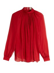 Maison Rabih Kayrouz Gathered Silk Mousseline Blouse
