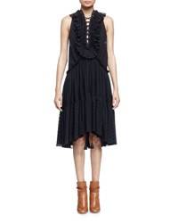 Chloe Embroidered Tiered Ruffled Dress Navy