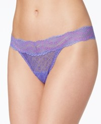 Maidenform One Size Lace Thong 40118 Waterfall Purple Fuschia Feather