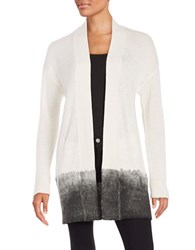 Lord And Taylor Ombre Trimmed Open Front Cardigan Ivory