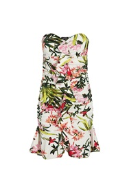 Morgan Floral Print Peplum Hem Bandeau Dress White