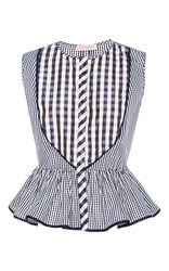 Dice Kayek Sleeveless Gingham Peplum Styled Top Multi