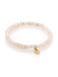 Sydney Evan Diamond White Sapphire And 14K Yellow Gold Hamsa Beaded Bracelet Pink