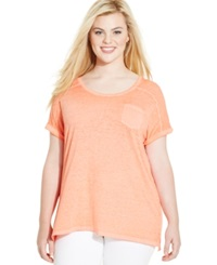 Style And Co. Plus Size Short Sleeve Patch Pocket Tee Reef Coral