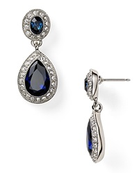 Carolee Pave Stone Double Drop Earrings Silver