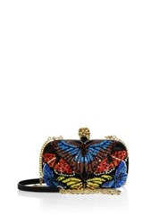 Alexander Mcqueen Classic Embroidered Butterfly Skull Box Clutch Black Multi