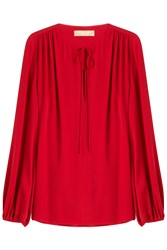 Michael Kors Collection Draped Silk Blouse Red