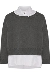 Derek Lam 10 Crosby By Cotton Terry Sweatshirt And Cotton Poplin Shirt Set Charcoal