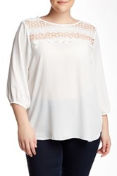 Halo 3 4 Length Sleeve Blouse Plus Size White