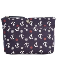 Tommy Hilfiger Canvas Print Cosmetics Case Tommy Navy