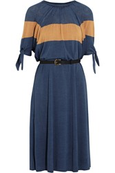 Fendi Color Block Fine Knit Silk Dress Blue