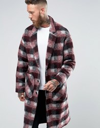 Asos Checked Overcoat In Red Red