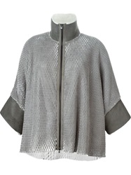 Lost And Found Perforated Cape Coat Grey