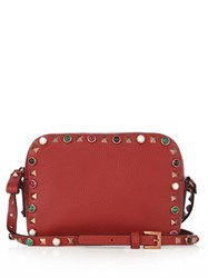 Valentino Rockstud Rolling Leather Camera Cross Body Bag Red