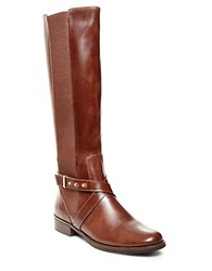 Steve Madden Sydnee Knee High Leather Boots Wide Calf Cognac