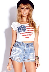 Forever 21 American Heart Crop Top Cream Red