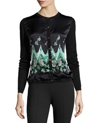 Versace Long Sleeve Charmeuse And Knit Cardigan Green Design