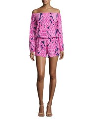 Lilly Pulitzer Lana Off The Shoulder Knit Romper Bright Navy Coco Safari