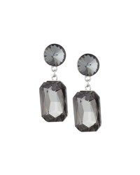 Kenneth Jay Lane Silvertone Gray Crystal Double Drop Earrings Women's