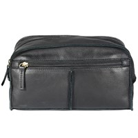 John Lewis Raw Edge Leather Wash Bag Black