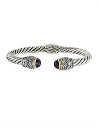Effy Balissima Sterling Silver Amethyst And 18K Yellow Gold Twisted Bangle Bracelet