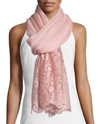 Valentino Golden Flower Lace Trim Shawl Powdery Rose Poudry Rose