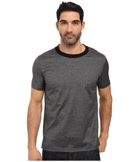 Hugo Dorenz Short Sleeve Crew Mercerized Fine Stripe Grey Men's Clothing Gray