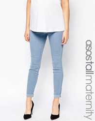 Asos Maternity Tall Rivington Denim Jeggings In Candy Light Blue With Turn Ups Light Wash