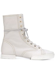 Chanel Vintage Lace Up Ankle Boots White