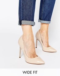 Asos Playful Wide Fit Pointed Heels Nude
