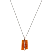 Be Jewelled Sterling Silver Cognac Amber Square Pendant Necklace Orange