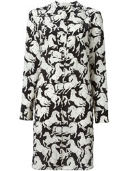 Stella Mccartney Horse Print Shirt Dress Black