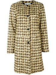 Yves Salomon Houndstooth Print Coat Nude And Neutrals