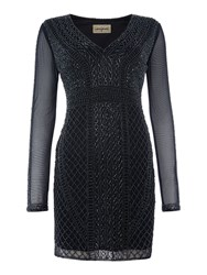 Lace And Beads Long Sleeved Beaded Bodycon Dress Navy