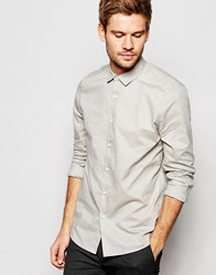 Asos Smart Shirt With Textured Marl In Olive Green In Regular Fit Olive Green